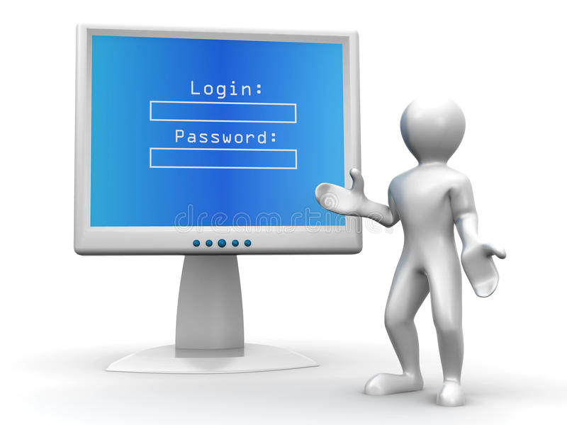 Monitor With Login And Password Royalty Free Stock Photo