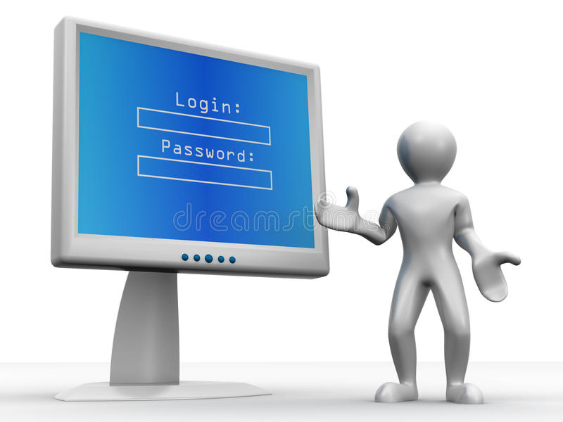 Download Monitor With Login And Password Stock Illustration - Illustration: 11592550