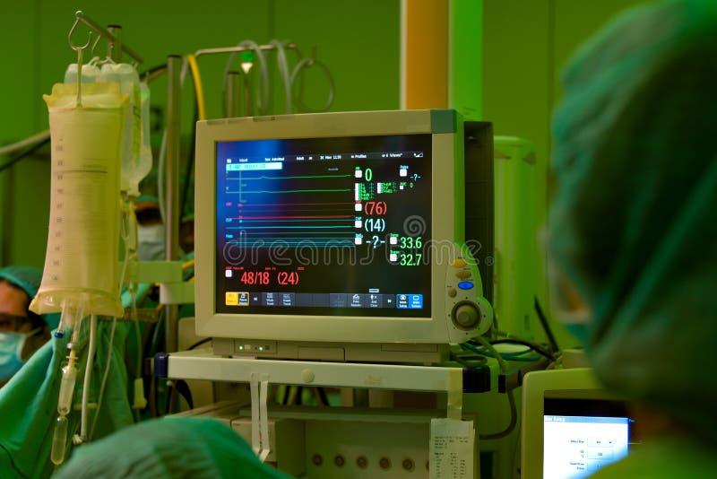 Monitor medico nella sala operatoria immagini stock libere da diritti