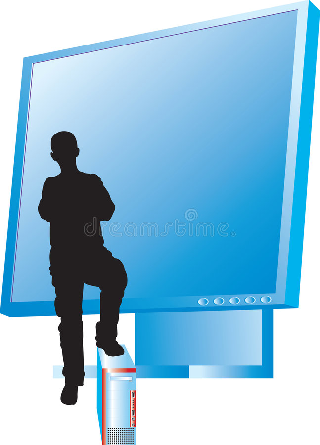 Download Monitor And Men's Siluet With Computer Part Two Stock Images - Image: 6416674