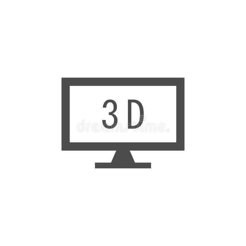 monitor met 3d pictogram Elementen van Webpictogram Grafisch het ontwerppictogram van de premiekwaliteit Tekens en symboleninzame stock illustratie