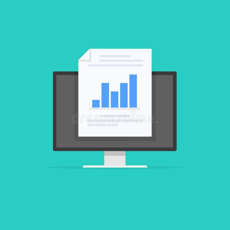 Monitor met financieel verslag Bedrijfsstrategie en planning Gegevens en investeringen Bedrijfs succes De monitor van de computer royalty-vrije illustratie