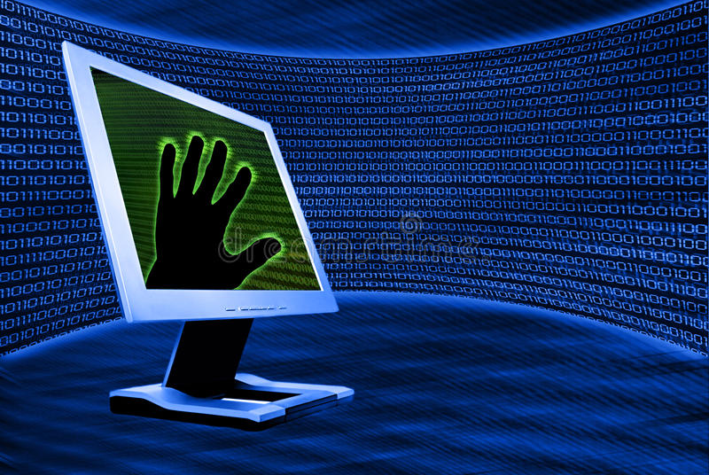 Download Monitor met hand stock illustratie. Illustratie bestaande uit codage - 10777535