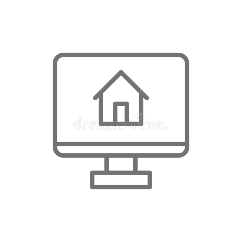 Monitor met huis, app voor het pictogram van de onroerende goederenlijn stock illustratie