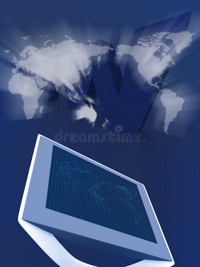 Monitor met kaart stock illustratie