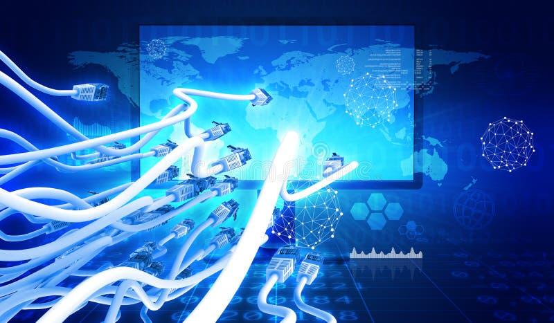 Monitor met kabel en grafieken royalty-vrije illustratie