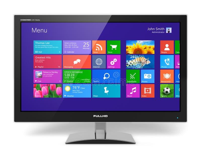 Monitor met touchscreen interface stock illustratie
