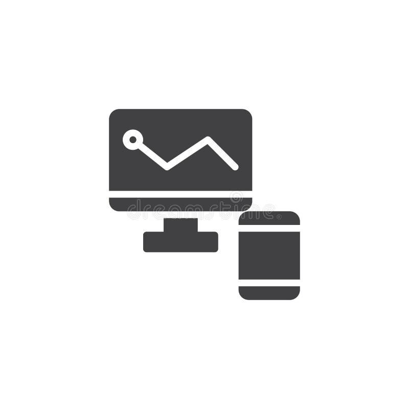 Monitor mit Geschäftsdiagramm- und Smartphonevektorikone lizenzfreie abbildung