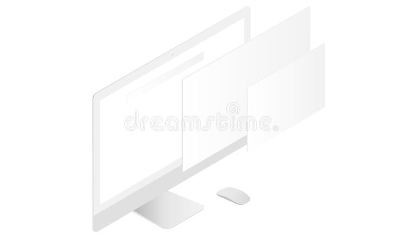 Monitor mockup with blank screen and blank web wireframing pages royalty free illustration