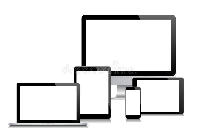 Monitor moderno, computador, portátil, telefone, tabuleta ilustração royalty free