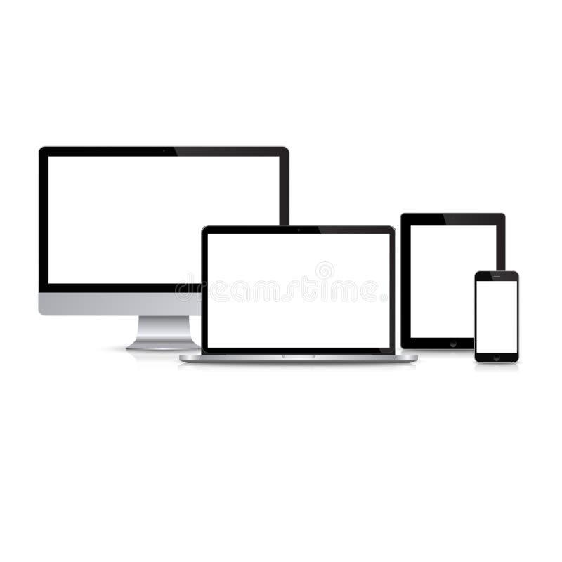 Monitor moderno, computer, computer portatile, telefono, compressa su un fondo bianco illustrazione di stock