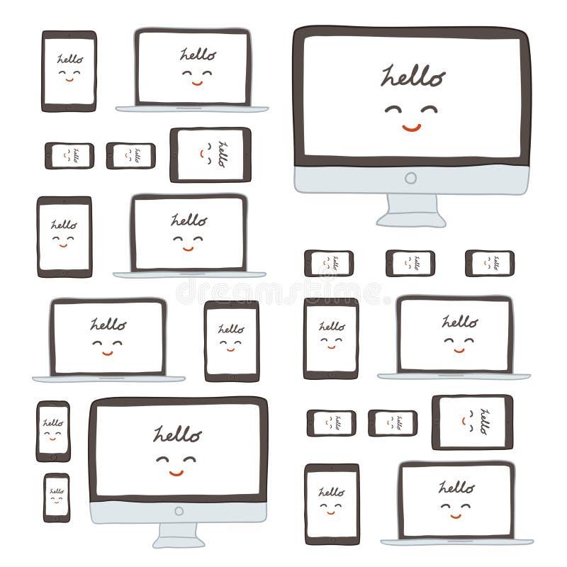 Monitor moderno, ordenador, ordenador portátil, teléfono, tableta en un fondo blanco libre illustration