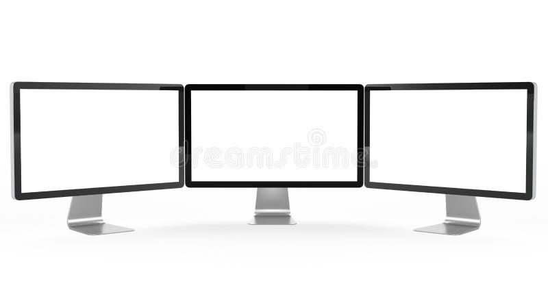 Monitor moderno tres ilustración del vector