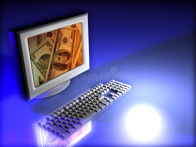 Monitor with money stock images