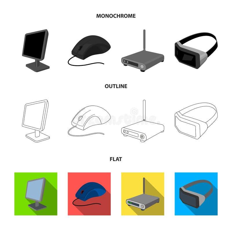 Monitor, muis en ander materiaal Pictogrammen van de personal computer de vastgestelde inzameling in vlakte, overzicht, zwart-wit vector illustratie