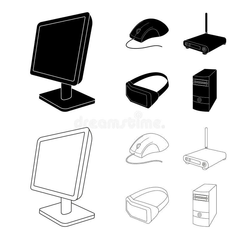 Monitor, muis en ander materiaal Pictogrammen van de personal computer de vastgestelde inzameling in zwarte, vector het symboolvo royalty-vrije illustratie