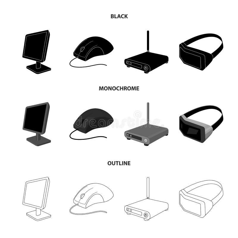 Monitor, muis en ander materiaal Pictogrammen van de personal computer de vastgestelde inzameling in de zwarte, zwart-wit, vector stock illustratie