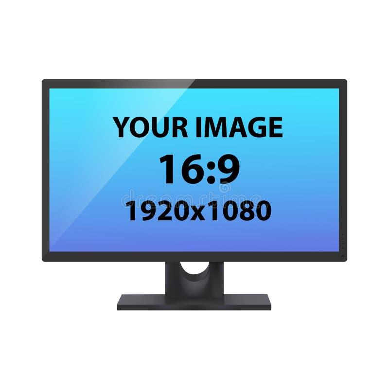 Monitor negro del ordenador Pantalla de ordenador sin marca, vista delantera, maqueta fotorrealista del vector stock de ilustración