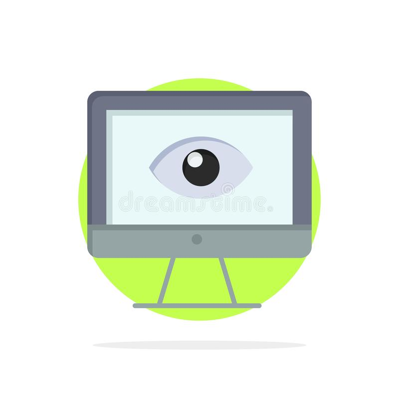 Monitor, Online, Privacy, Surveillance, Video, Watch Abstract Circle Background Flat color Icon vector illustration