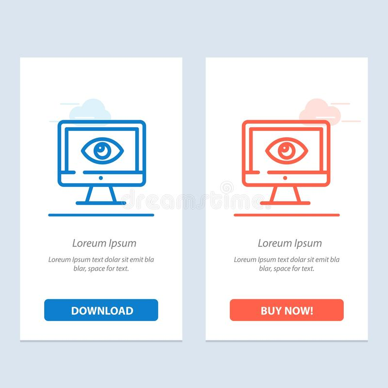 Monitor, Online, Privacy, Surveillance, Video, Watch  Blue and Red Download and Buy Now web Widget Card Template royalty free illustration