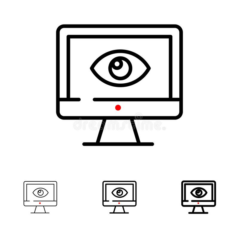 Monitor, Online, Privacy, Surveillance, Video, Watch Bold and thin black line icon set royalty free illustration