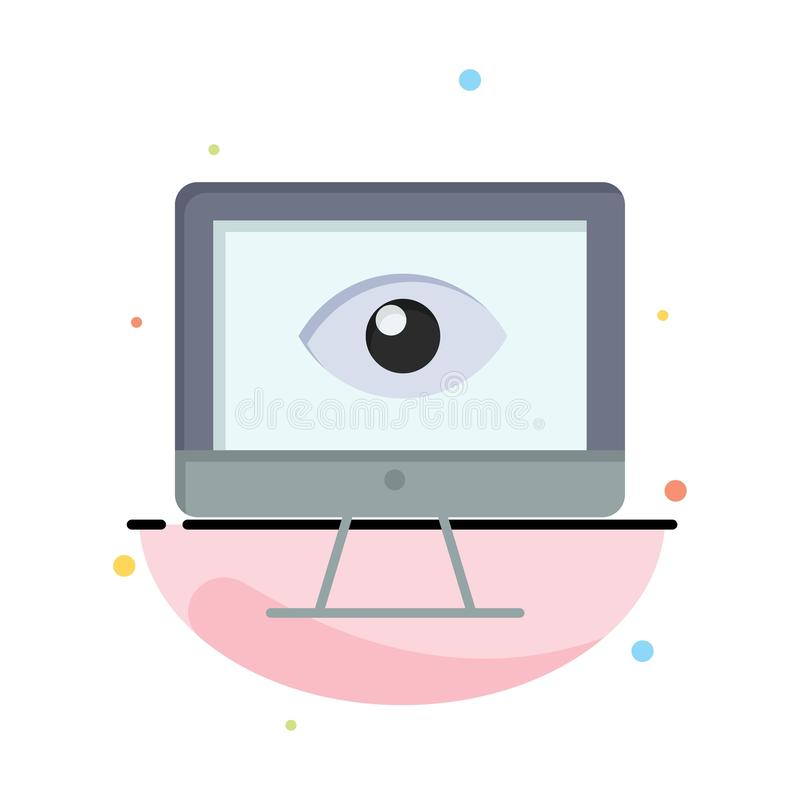 Monitor, Online, Privacy, Surveillance, Video, Watch Business Logo Template. Flat Color vector illustration