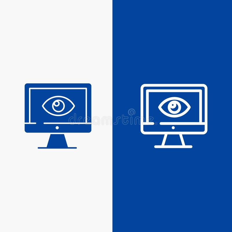 Monitor, Online, Privacy, Surveillance, Video, Watch Line and Glyph Solid icon Blue banner Line and Glyph Solid icon Blue banner stock illustration