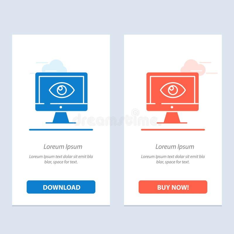 Monitor, online, segretezza, sorveglianza, video, blu dell'orologio e download rosso ed ora comprare il modello della carta del w royalty illustrazione gratis