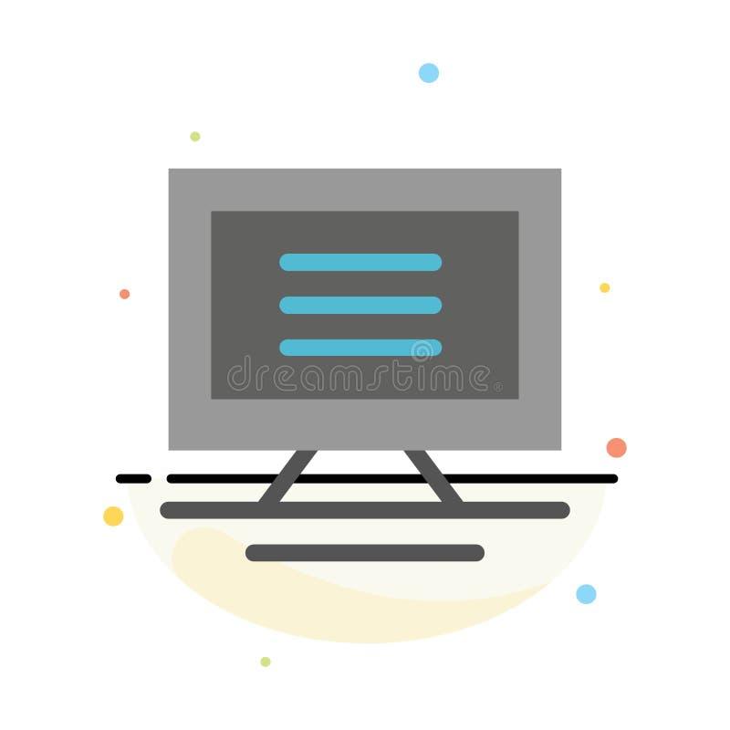 Monitor, ordenador, plantilla plana del icono del color del extracto del hardware stock de ilustración