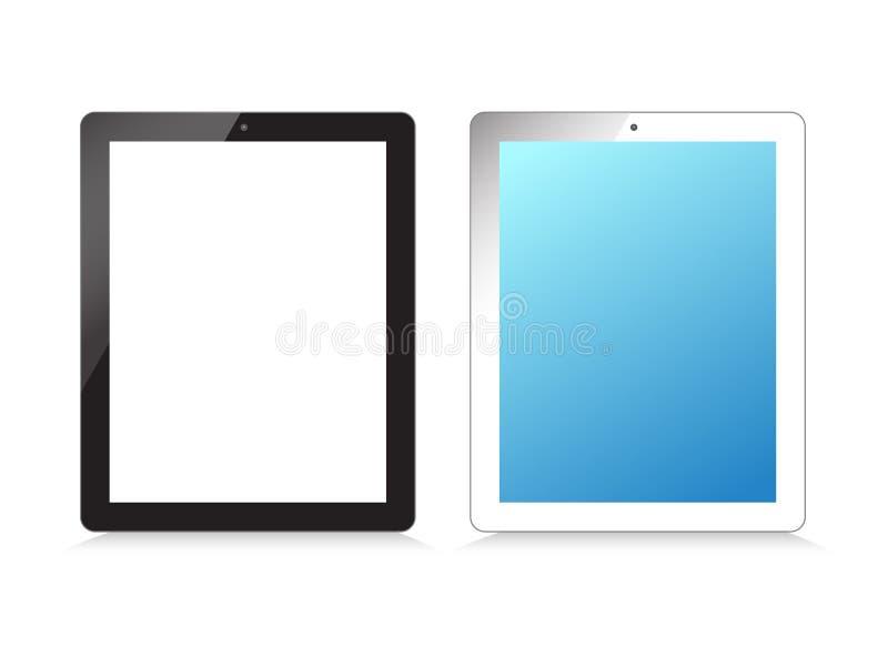 Monitor, ordenador portátil, teléfono, tableta en un blanco stock de ilustración