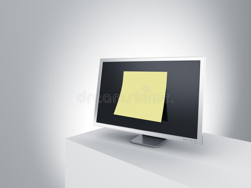Monitor on a podium with oversized post it note. royalty free illustration
