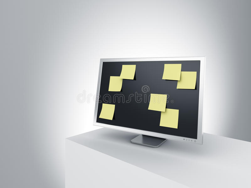 Download Monitor On A Podium With Post It Notes. Stock Illustration - Image: 10123868