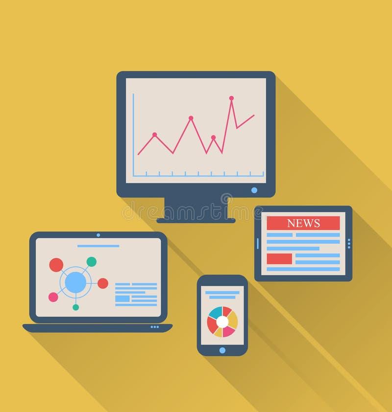 Monitor, portátil, tablet pc, e telefone celular, ícones lisos w ilustração do vetor