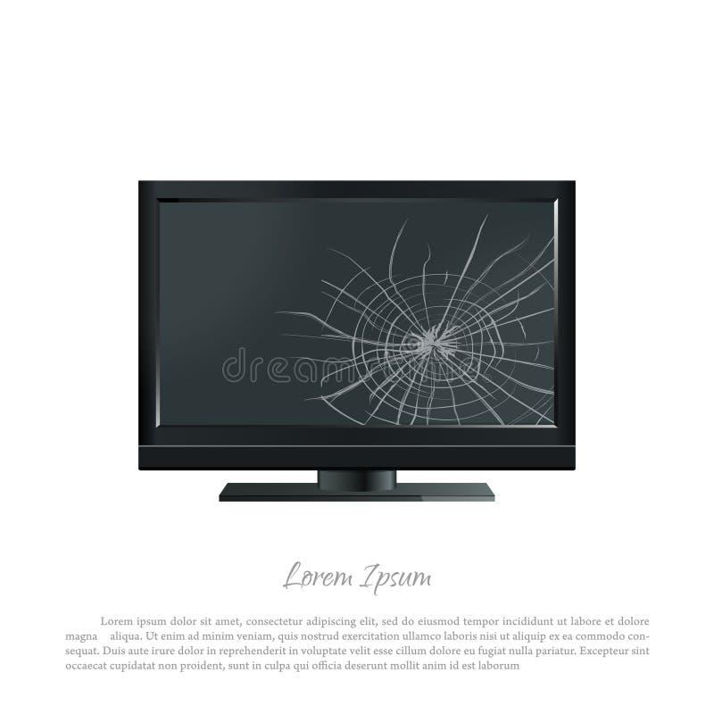 Monitor quebrado do computador A tela rachada Tevê danificada ilustração royalty free
