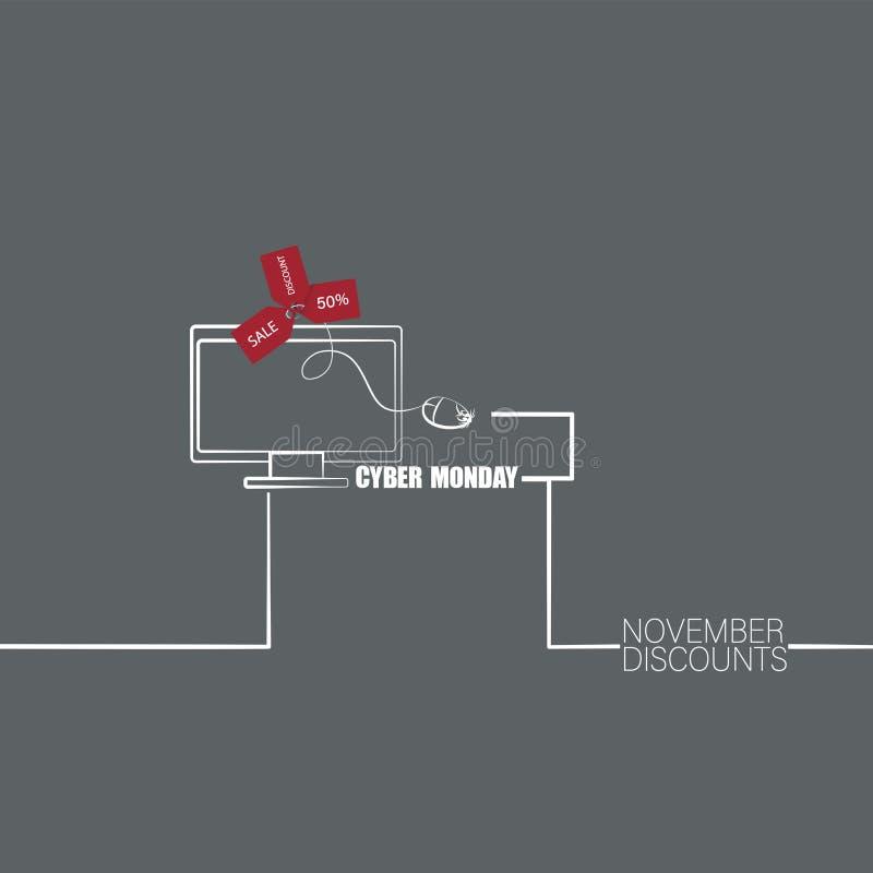 Monitor, ratón del ordenador con las etiquetas de la venta y texto Caja CIBERNÉTICA de LUNES y de regalo Imagen linear Descuentos ilustración del vector