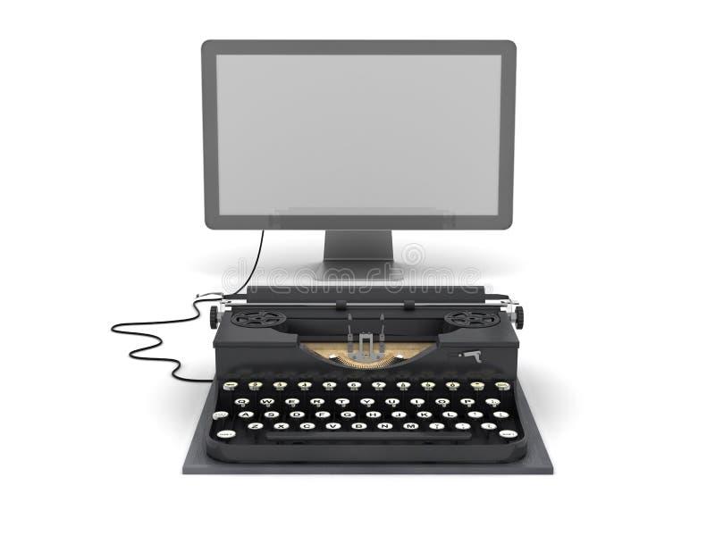 Monitor retro de la máquina de escribir y del ordenador libre illustration