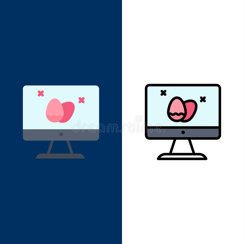 Monitor, Screen, Egg, Easter  Icons. Flat and Line Filled Icon Set Vector Blue Background royalty free illustration