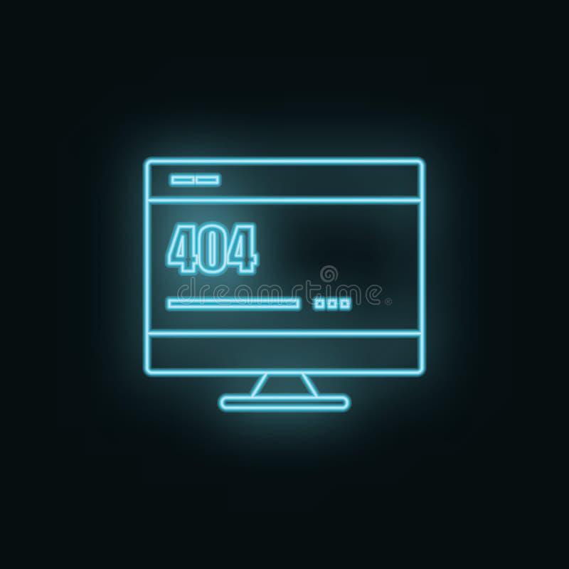 Monitor, site, 404, error, neon, icon. Web Development Vector Icon. Element of simple symbol for websites, web design, mobile app royalty free illustration