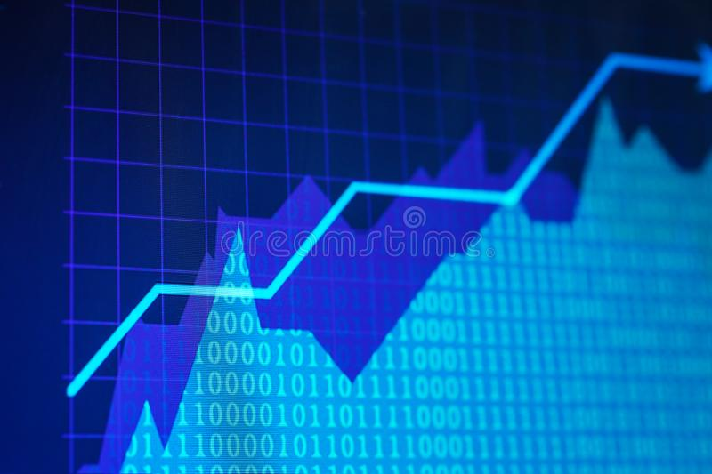 Monitor with stock data, closeup. Financial trading. Concept stock image