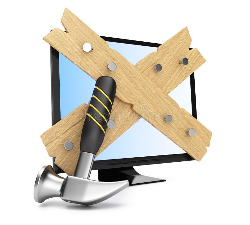 Monitor subido ilustración del vector