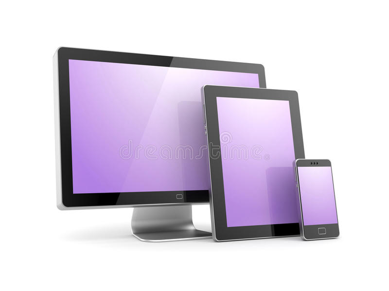 Monitor, tablet computer and mobile phone royalty free illustration