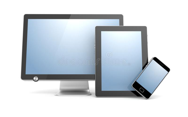Monitor, tablet computer and mobile phone stock illustration
