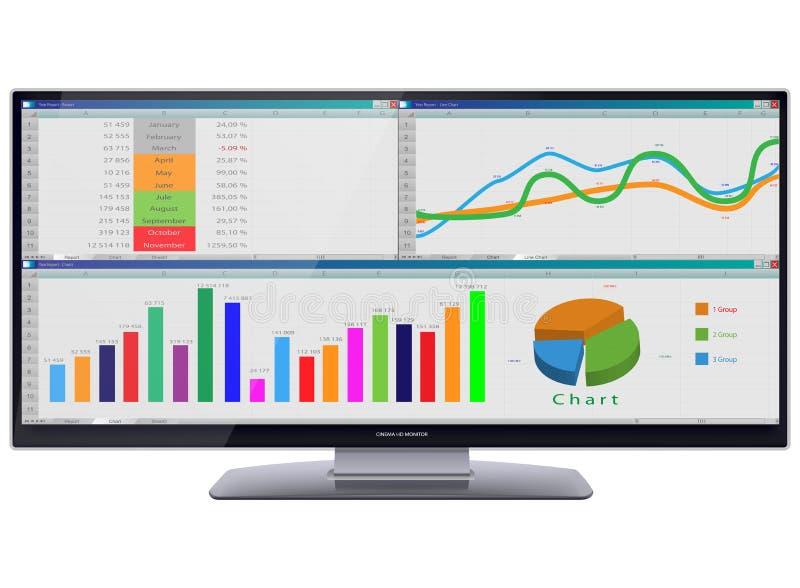 Monitor ultra largo do cinema HD com tabelas e cartas na tela ilustração do vetor