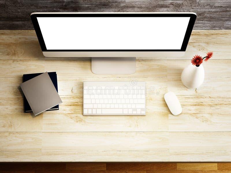 Monitor und Zusatz auf der hölzernen Tabelle stock abbildung