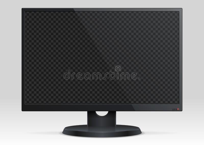 Monitor vazio do lcd do computador com o modelo do vetor da tela 3d da transparência ilustração stock