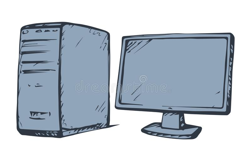 Monitor. Vector drawing. Power block base chassis cabinet and imac hd pad ui isolated on white backdrop. Freehand outline ink hand drawn picture sign sketchy in royalty free illustration