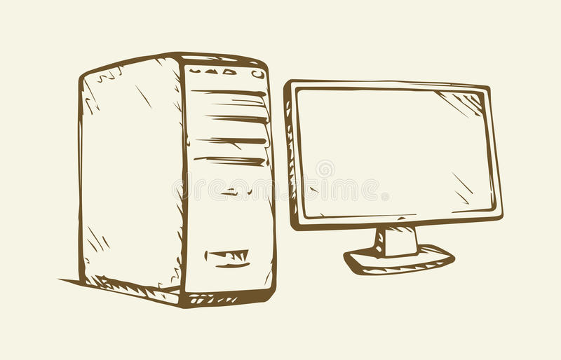 Monitor. Vector drawing. Power block base chassis cabinet and imac pad ui on white backdrop. Freehand outline ink hand drawn picture sketchy in art scribble royalty free illustration