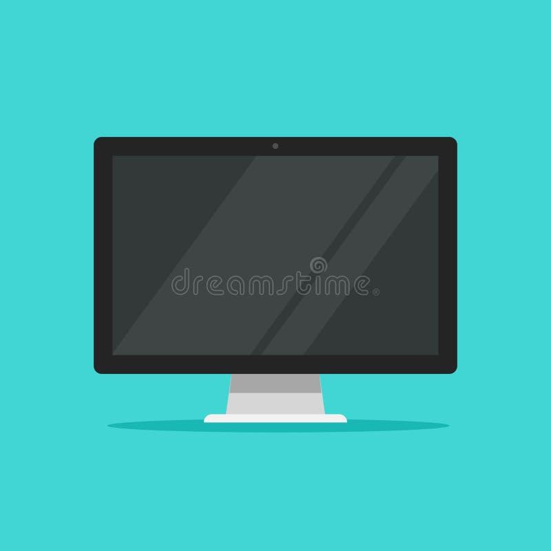 Monitor vectorillustratie, de vlakke vertoning van het beeldverhaal brede scherm die op kleurenachtergrond wordt geïsoleerd, mode stock illustratie