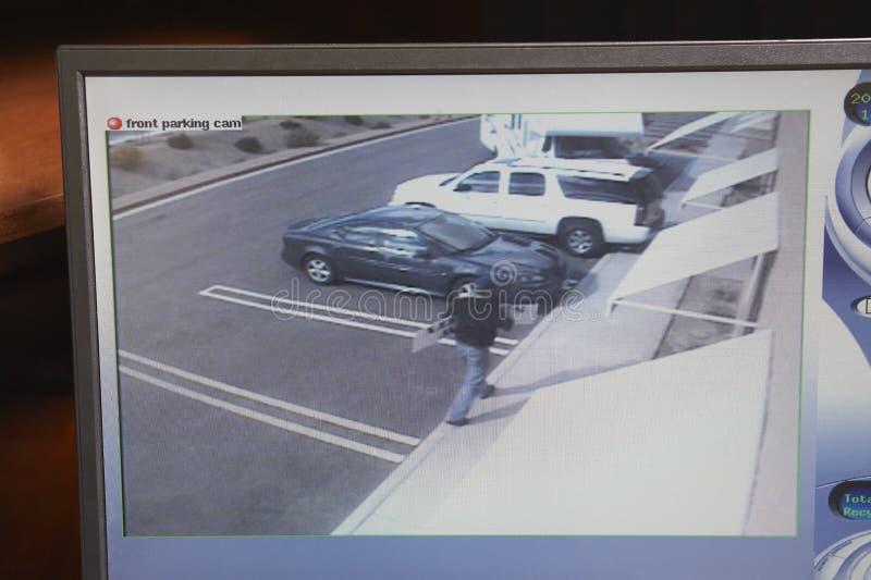 Monitor video com imagem da câmara de segurança foto de stock royalty free