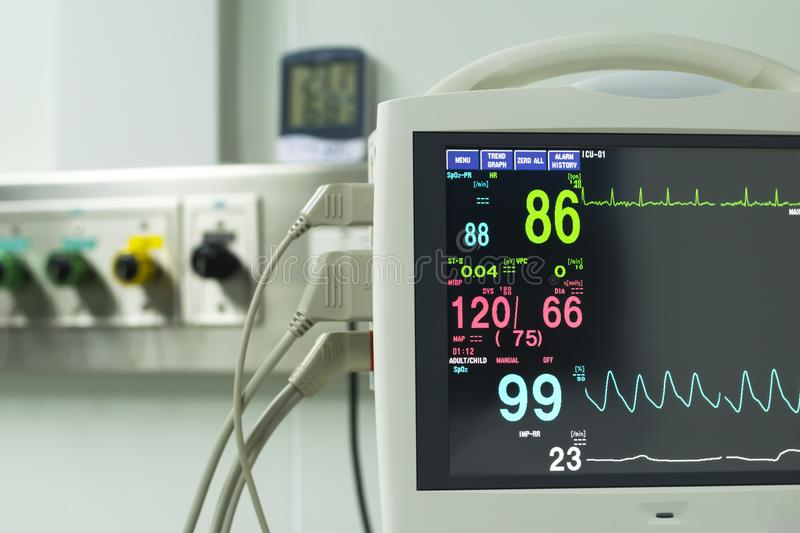 Monitor vital sign and EKG monitor in ICU unit ,it show The waves of blood pressure, blood oxygen saturation, ECG,heart rate,resp. Iratory rate stock images